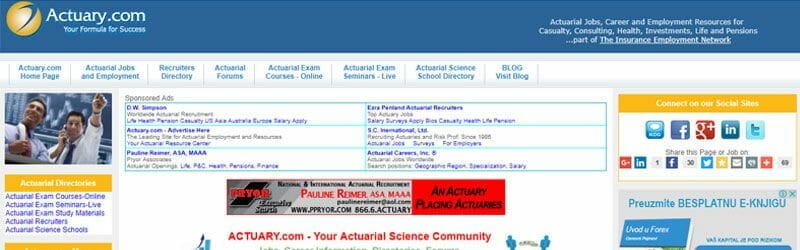 Website screenshot for Actuary