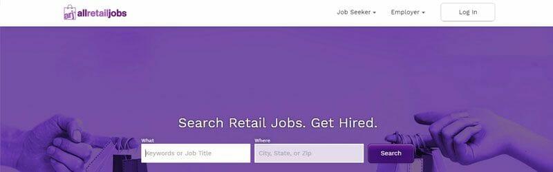 Website screenshot for All-Retail-Jobs