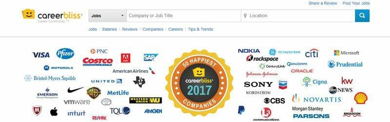 Website screenshot for Career-Bliss