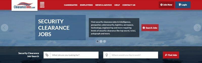 Website screenshot for Clearance-Jobs