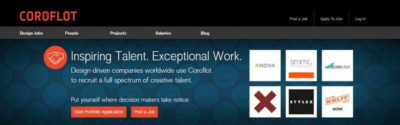 Website screenshot for Coroflot