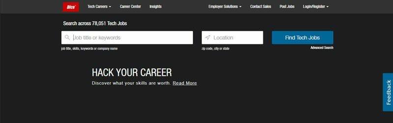 Website screenshot for Dice