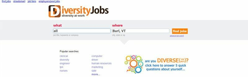 Website screenshot for Diversity-Jobs