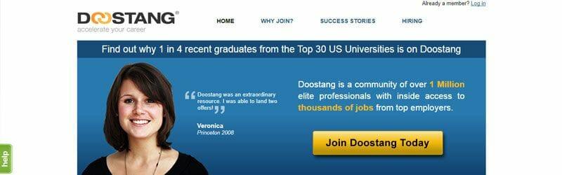 Website screenshot for Doostang