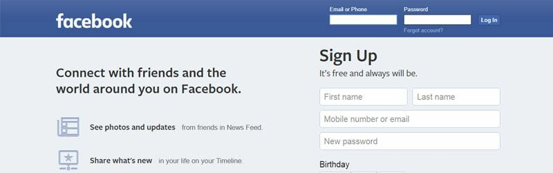 Website screenshot for Facebook