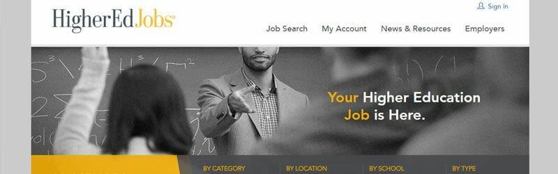 Website screenshot for Higher-Ed-Jobs