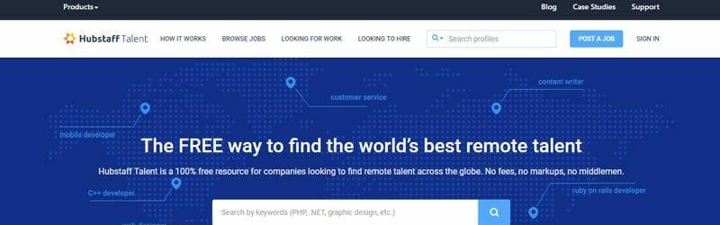 Website screenshot for Hubstaff-Talent