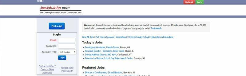 Website screenshot for Jewish-Jobs
