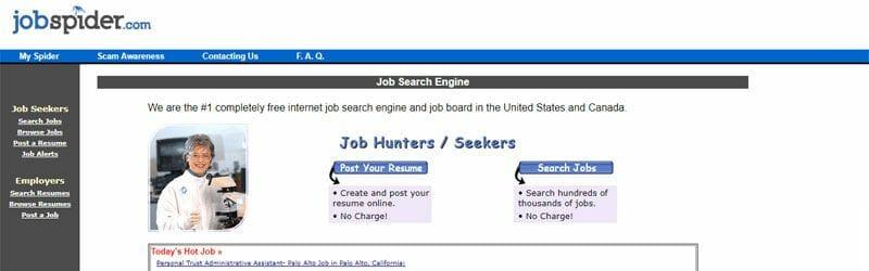 Website screenshot for Job-Spider