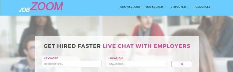 Website screenshot for Job-Zoom