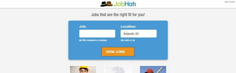 Website screenshot for Jobhat