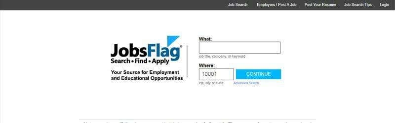 Website screenshot for Jobs-Flag