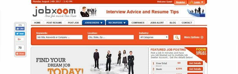 Website screenshot for Jobxoom