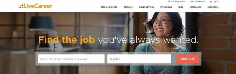 Website screenshot for Live-Career