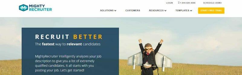 Website screenshot for Mighty-Recruiter