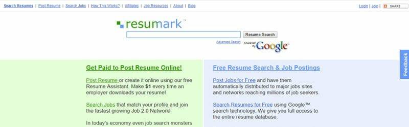 Website screenshot for Resumark