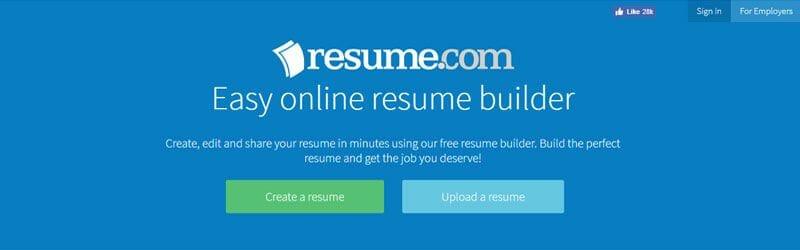 Website screenshot for Resume