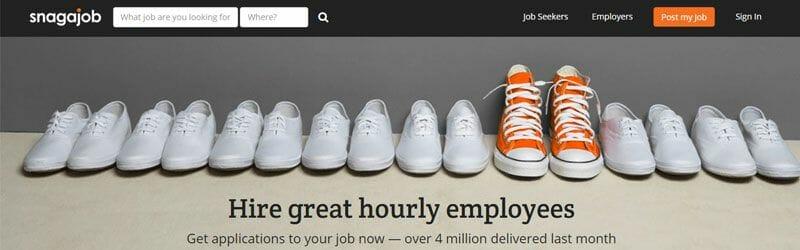 Website screenshot for Snag-A-Job