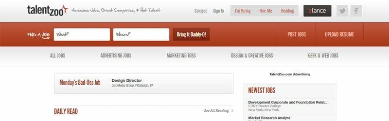 Website screenshot for Talent-Zoo