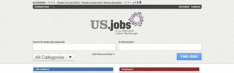 Website screenshot for US Jobs