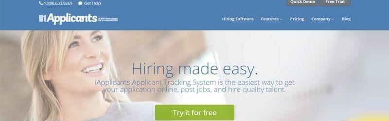Website screenshot for iApplicants
