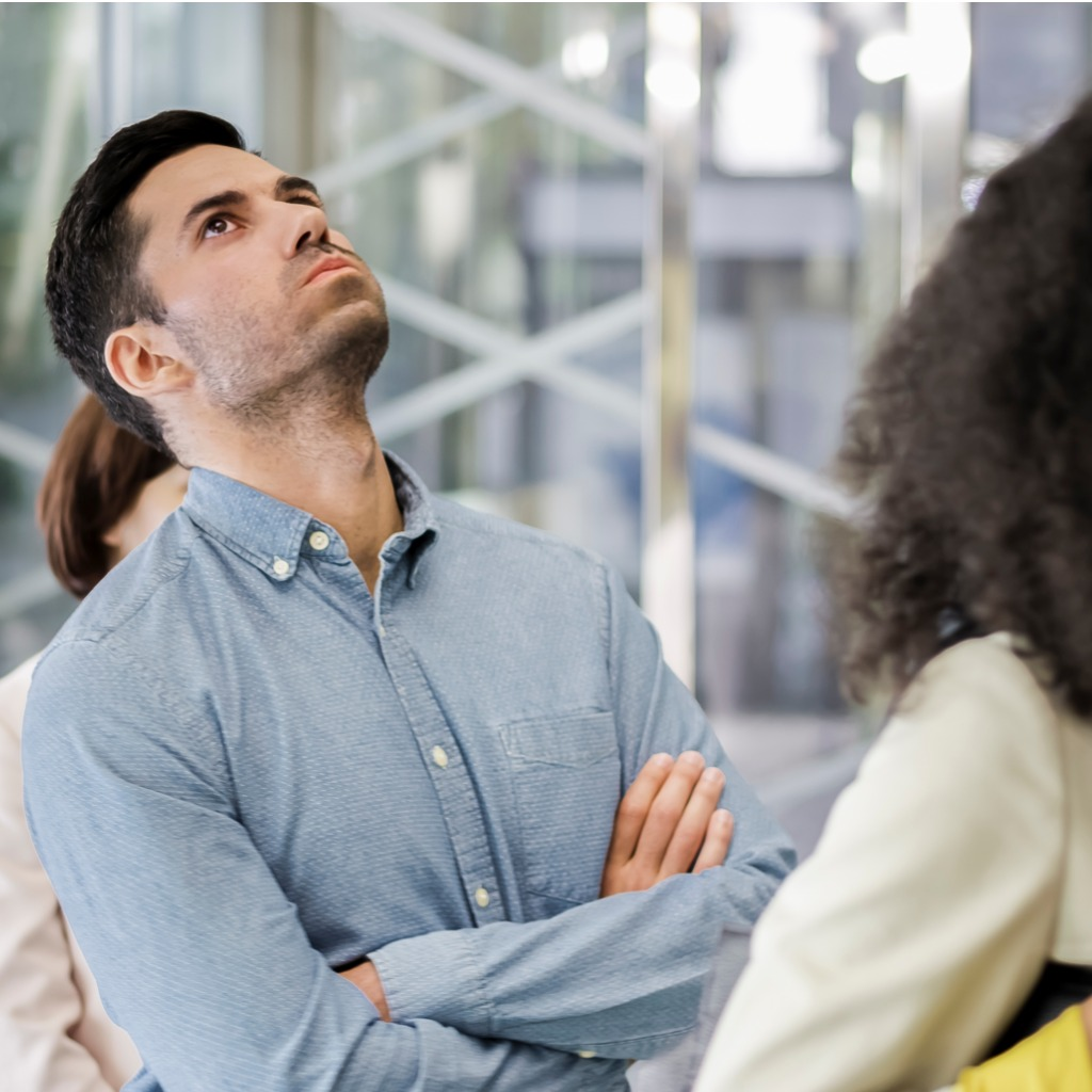 HR Processes man waiting in line
